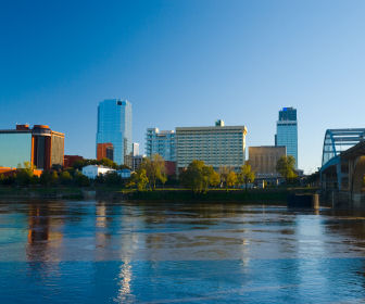 Arkansas River and the Little Rock, AR downtown skyline