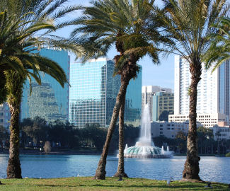 Orlando skyline from Lake Eola, the city symbol is the Lake Eola fountain