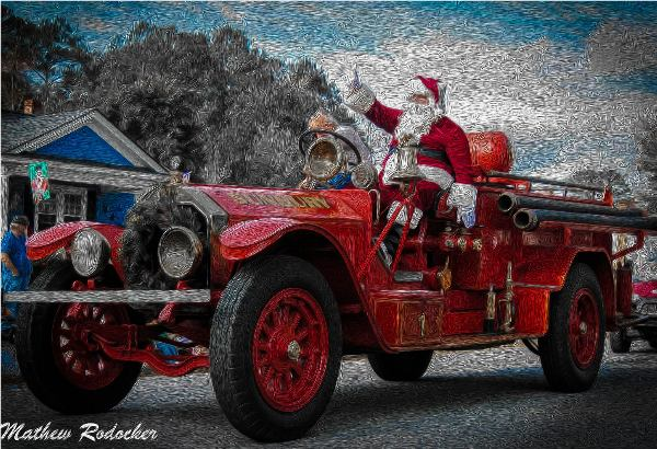 Santa Clause on Fire Engine